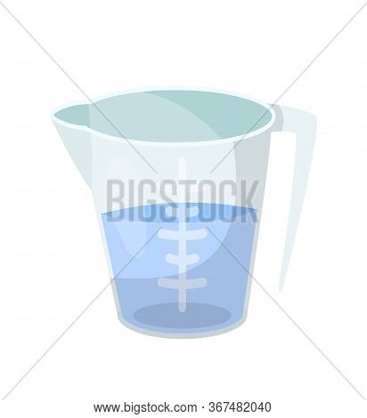 Measuring Cup, Beaker Flat Vector Illustration. Half Full Glass Jug With Handle, Transparent Plastic