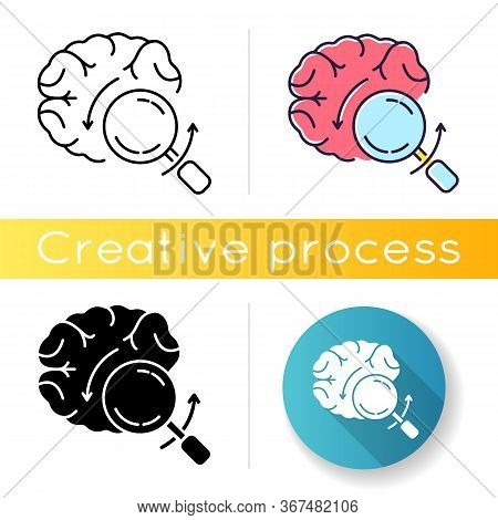 Briefing Icon. Analytical Brain. Investigate For Smart Solution. Knowledge And Intelligence. Mental