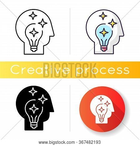 Idea Generation Icon. Insight While Brainstorming. Human Head With Innovative Thought For Developmen