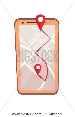 Mobile Gps Application Flat Vector Illustration. Smart Navigation And Route Planning Software, Moder