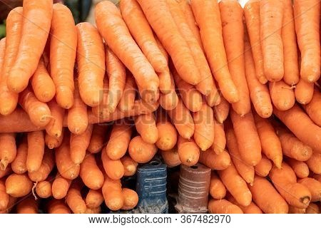 Close Up Of Fresh Organic Carrots Harvested From The Farmer's Garden, Sold On A Local Grocery Market