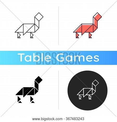 Tangram Icon. Traditional Dissection Puzzle, Ancient Chinese Tabletop Game. Linear Black And Rgb Col