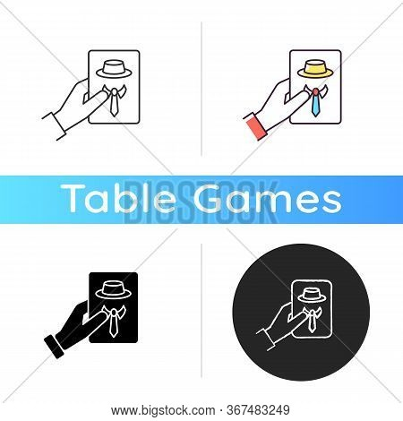 Guess Game Icon. Traditional Party Entertainment, Social Deduction Game. Linear Black And Rgb Color