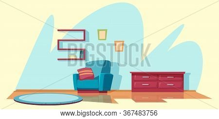 Living Room Furnishing Flat Vector Illustration. Empty Apartment, Hotel Number Interior Decor. Cozy