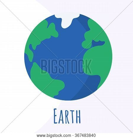 Earth Planet For Logo, Outer Space, Symbol. Transparent Shadow And Lettering.