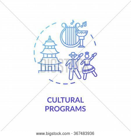 Cultural Programs Concept Icon. Multicultural Society. Ethnic Holidays Celebration. People Diversity