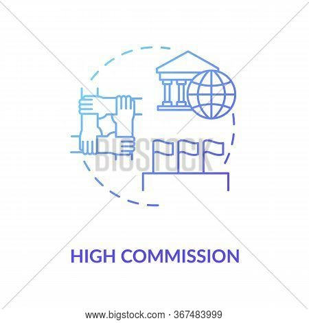 High Commission Concept Icon. Diplomatic Mission Idea Thin Line Illustration. International Partners