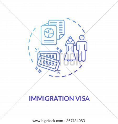 Immigration Visa Concept Icon. Foreign Country Legal Migration. Married Couple Citizenship Document