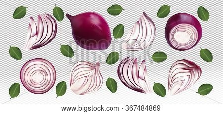 Set Of Red Onion With Leaves On Transparent Background. Flying Red Onion Are Whole And Cut In Half.