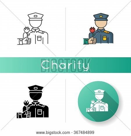 War Veterans Charity Icon. Help For Army Soldier. Memorial Day Appreciation. Social Help For Served