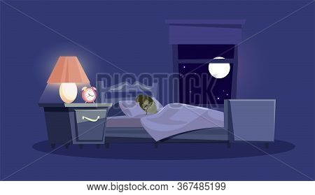 Woman Sleeping In Bed Flat Vector Illustration. Bedroom Interior Design On Blue Background. Young Gi