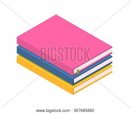 Cartoon Book Stack Office Items Isolated On White. Important Information, Paperwork. Self-developmen
