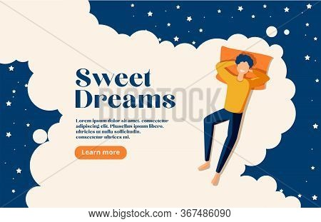 Sweet Dreams, Good Health Concept. Young Man Sleeps On Side. Vector Illustration Of Boy In Bed, Nigh