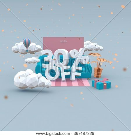 30 Thirty Percent Off 3d Illustration In Cartoon Style. Sale Concept.