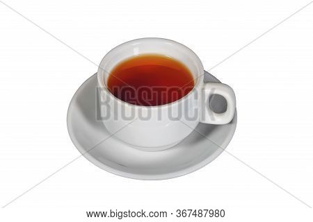 White Cup With Black Tea On A White Saucer On A Dark Background. A Cup Of Tea In Saucer On Top Of Da