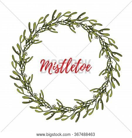 Christmas Mistletoe Wreath With Leaves And Berries. Vector Illustration