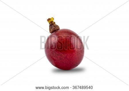 Single Ripe Sweet Flame Seedless Grape Isolated On White Baclground With Clipping Path.