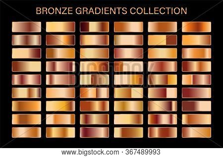 Bronze Glossy Gradient, Metal Foil Texture. Color Swatch Set. Collection Of High Quality Vector Grad