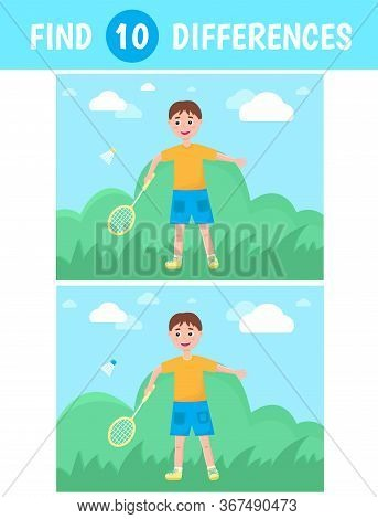 A Boy Plays Badminton Against The Background Of Nature In The Summer. Find Ten Differences. Vector.