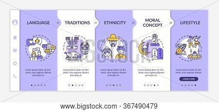 Multiculturalism Onboarding Vector Template. National Tradition. Multiethnical Lifestyle. Culture An