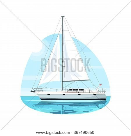 Regatta On Ocean Waves Semi Flat Vector Illustration. Luxury Boat For Maritime Trip. Premium Ship Fr