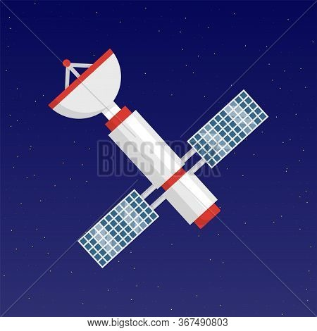 Cartoon Orbit Space-station With Antenna Over Starry Sky In Cosmos. Satellite Flying In Dark Blue Ou