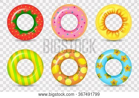 Rubber Rings Set Isolated On White Background With Unicorn. Life Saving Floating Lifebuoy For Beach