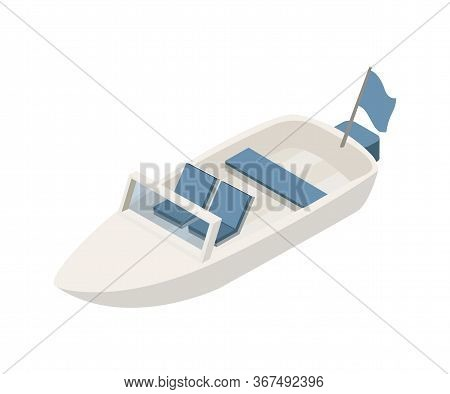 Motorboat Isometric Vector Illustration. Marine Transportation Clipart Isolated On White Background.