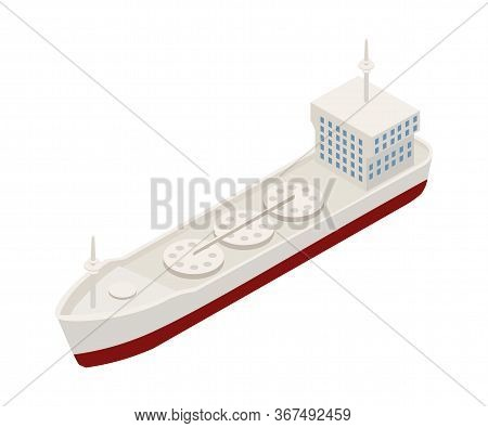 Container Ship Isometric Vector Illustration. Water Transport For Goods Export And Import Isolated O