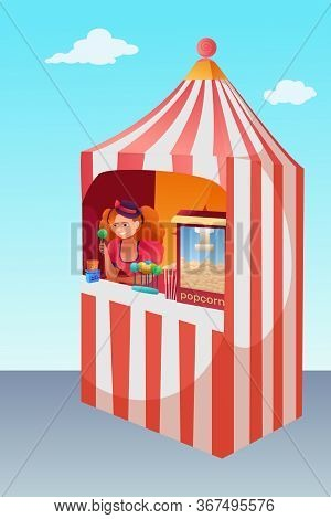 Popcorn And Lollipops Stand Vector Illustration. Kiosk, Trade Booth. Female Sweet Seller, Vendor Car