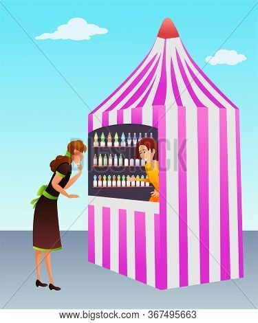 Carbonated Drinks Kiosk Flat Vector Illustration. Trade Stand, Beverage Sale. Female Seller And Cust