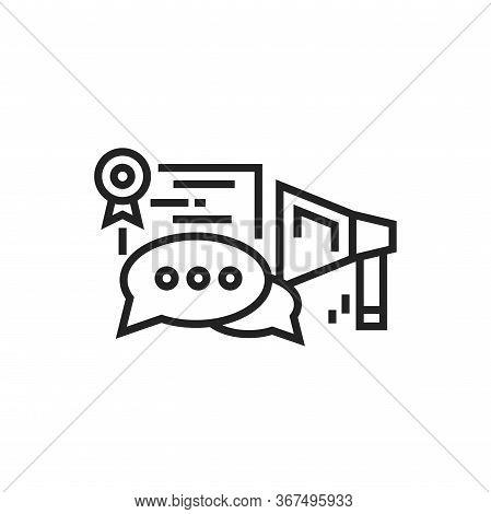 Oratory Courses Black Line Icon. Education Public Speaking. Pictogram For Web Page, Mobile App. Ui U
