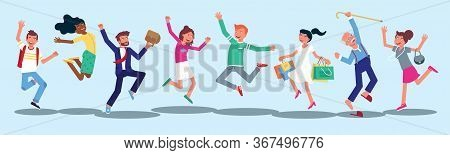 Happy People Jumping Flat Characters Set. Cheerful Young Woman, Grandfather Isolated On Blue Backgro