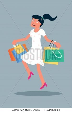 Happy Female Shopper Jumping Flat Character. Cheerful Young Woman With Shopping Bags Isolated. Store