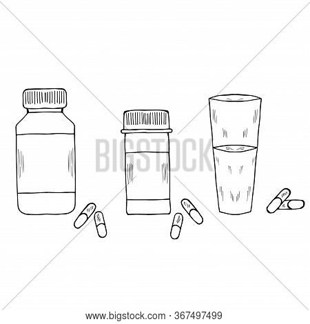 Medicine Vials, Bottles, Pills, Vitamin Capsule Sketch Set. For Vitamin And Dietary Supplement. Free