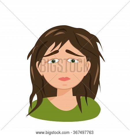 Cartoon Character On White Backdrop.female Stress. Exhausted Abstract Portrait On White Backdrop. Ve