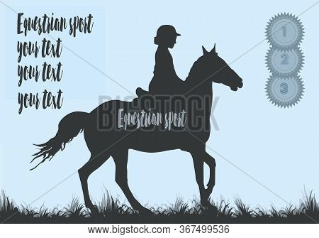 Horse Rider Silhouette, Premium Rosettes, Equestrian Sport, Isolated Black Silhouette On A Blue Back