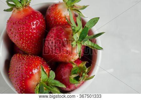 Fresh Strawberries. Strawberry Background. Macro Texture. Big, Big Strawberries. On A Blue Backgroun