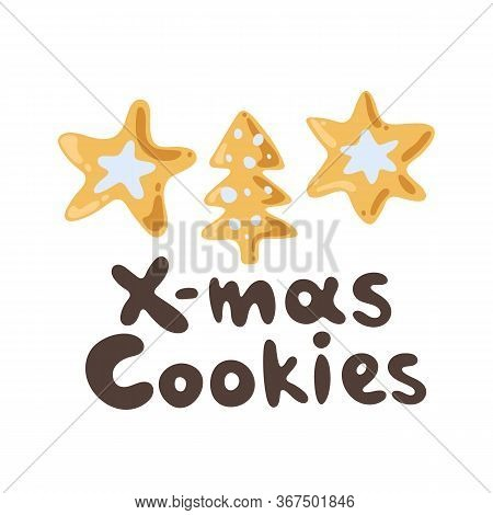 Vector Hand-drawn Ginger Cookie, Holiday Season Doodle Clipart. Christmas Collection, Lettering. Ice