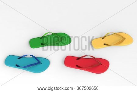 Flat Lay Of A Composed Flip Flops. Colorful Flip Flops Isolated On A White Background, 3d Render. Su