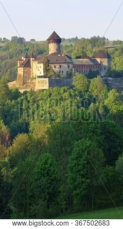 Old Castle In Forest During Sunset, Sovinec Castle, Czech Republic.