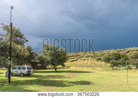 Ladybrand, South Africa - March 20, 2020: Camping Site And A Chalet At Eingedi Resort Near Ladybrand