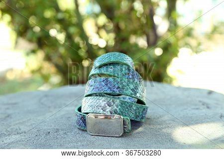 Women's Green Waist Belt Is On The Green Background Nature . Women's Green Belt Is On The Green Back
