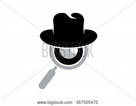 Magnifying Glass Hat And Loupe Eye For A Detective Spy Logo Design Illustration On A White Backgroun