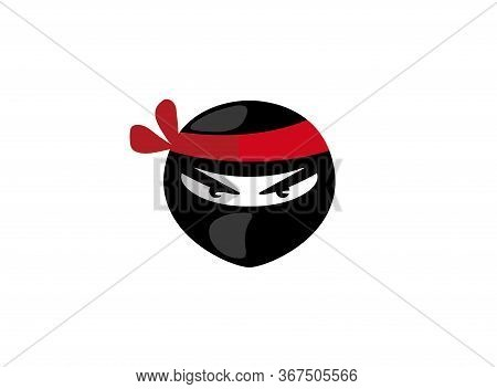 Ninja Head With Angry Face Logo Design Illustration On White Background