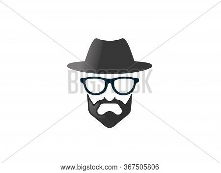 Bowler Hat With Beard And Glasses Brille Und Bart For Logo Design Illustration On White Background