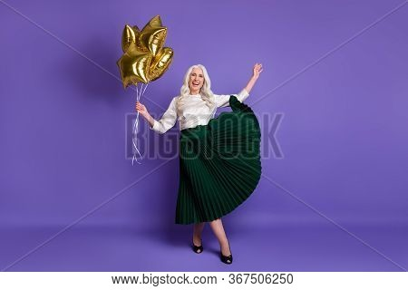 Full Length Body Size View Of Her She Nice Attractive Pretty Cheerful Grey-haired Woman Holding In H