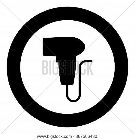 Hand Scanner Barcode Held Icon In Circle Round Black Color Vector Illustration Flat Style Simple Ima