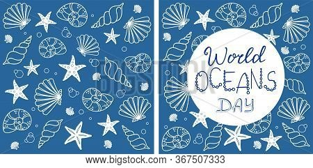 Dark blue background with starfish, seashells and World Oceans Day lettering. The celebration dedicated to help protect and conserve oceans, water, marine animals, ecosystem, ecology and environment. Vector design template for flyer, banner, card and invi