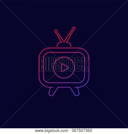 Tv With Antenna Icon, Line Vector, Eps 10 File, Easy To Edit